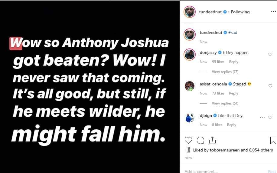 Nigerian Celebrities React To Anthony Joshuas Defeat To Andy Ruiz Unclesuru 1 Tile