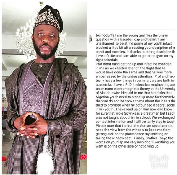 Tosin Odufa Says He Is The Young Man That Told Wole Soyinka To Get Up From His Airplane Seat Unclesuru 1