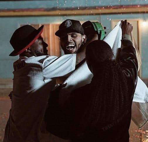 Davido Shares New Photos With Chris Brown Dancing Under The Rain