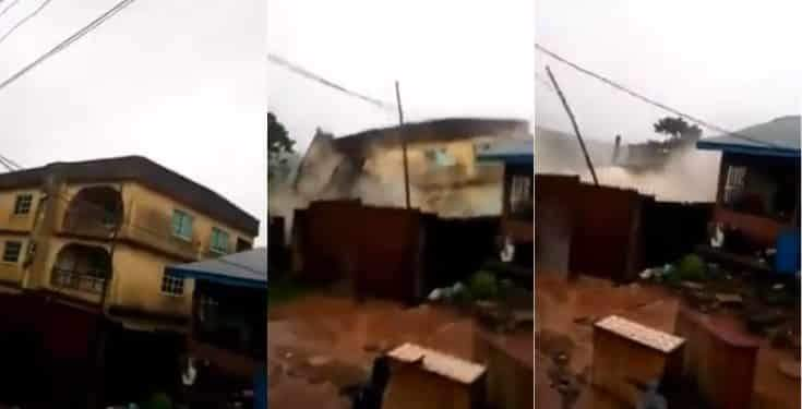 Many Escape Death As Building Collapses During A Downpour In Anambra State Video