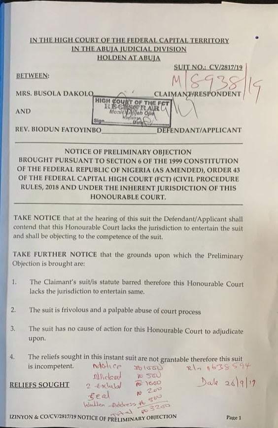 Alleged Rape Pastor Fatoyinbo Demands %E2%82%A650 Million From Busola Dakolo 1