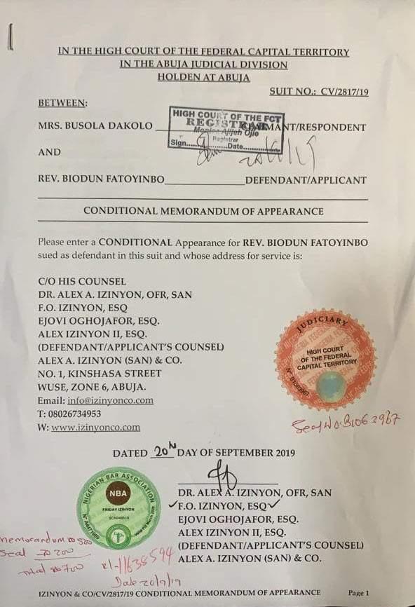 Alleged Rape Pastor Fatoyinbo Demands %E2%82%A650 Million From Busola Dakolo 2