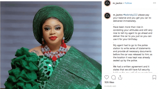 Lagos Car Dealer Seizes Bobrisky Car Over Unpaid Balance 1