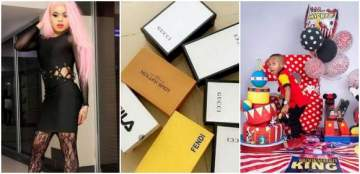 Bobrisky Goes All Out On Gucci, Fila, Fendi, Louis Vuiton, For Tonto Dikeh's Son's 3rd Birthday