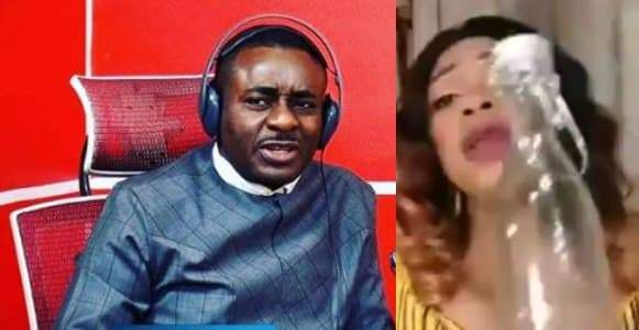 Emeka Ike reacts to video of woman selling mystic bottle for locking irresponsible husbands