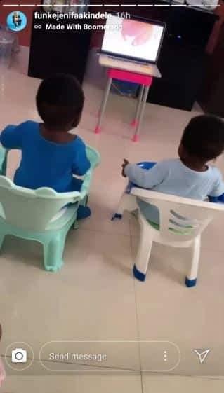 Actress Funke Akindele shows off her twin boys