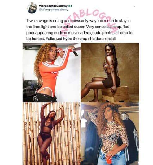 Gospel Singer Slams Tiwa Savage For Releasing Sultry Photos 1