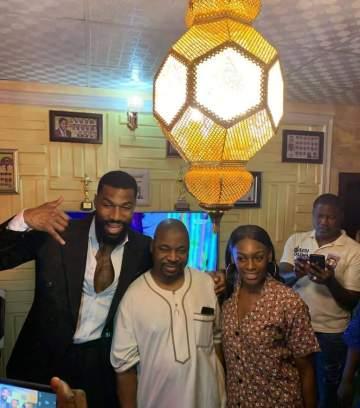 #BBNaija: Mike and his wife, Perri visit Mc Oluomo to show appreciation