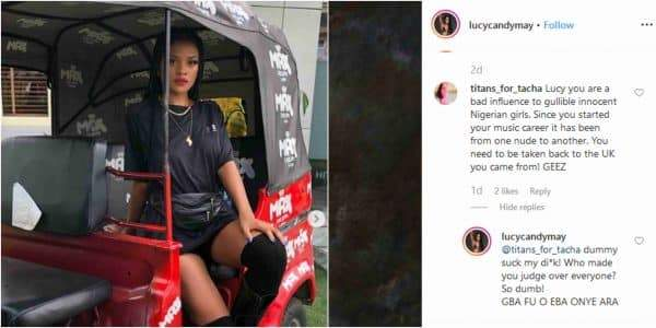 Singer Lucy Blasted By Tachas Fan For Posing Nude Photo