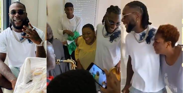 Watch the emotional moment Burna Boy's mother surprised him on his birthday (Video)