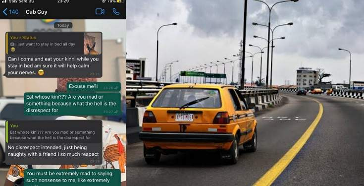 Nigerian lady shares screenshot of the chat she had with her cab guy who wants to eat her 'kinni'
