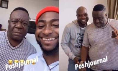 Davido Gushes as Veteran Actor Mr Ibu Pays Him a Visit (Video)