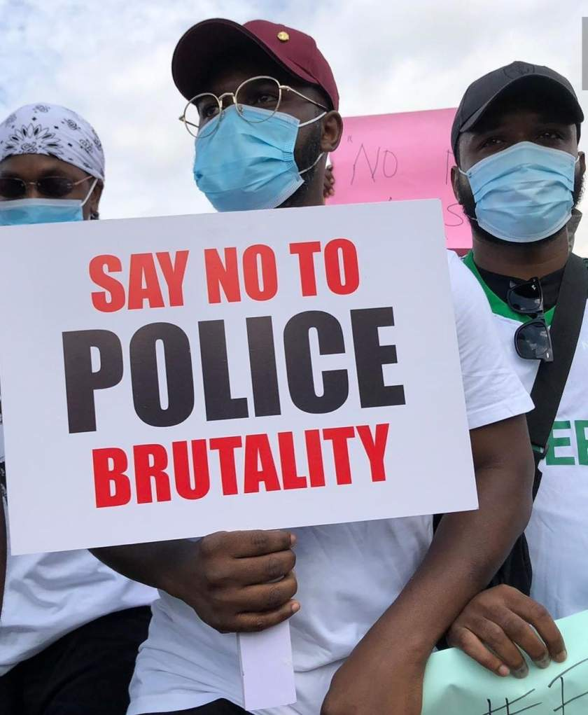Photos From The Ongoing #EndSars Protest Led By Runtown And Falz
