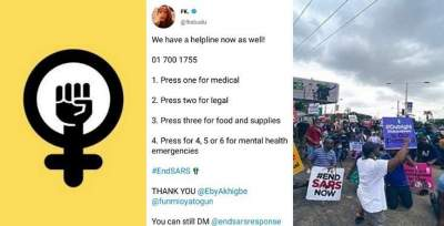#EndSARS Protesters Setup Emergency Helpline To Tackle Medical, Legal And Food Related Issues