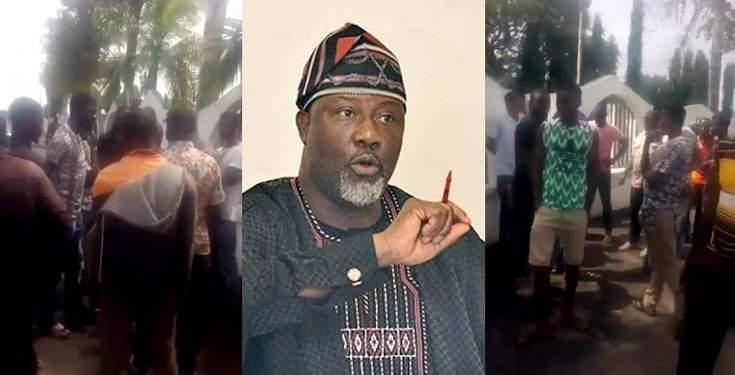 Youths intervene, prevent hoodlums from looting and burning Dino Melaye's mansion (Video)