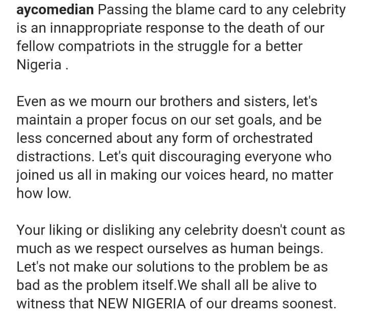 AY blasts those asking why no celebrity died