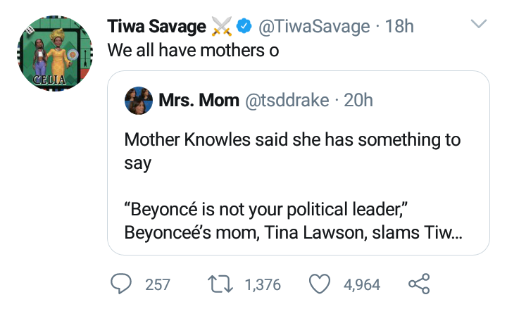 Tiwa replies Beyonce's mom