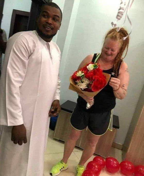 'She said yes' - Nigerian man proposes to his older white lover (Photos)