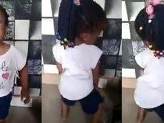 Little girl shows off twerking skills, while vibing to Davido's song, Fem (Video)