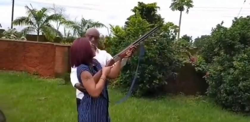 Watch Video Of Ned Nwoko Teaching Regina Daniels How To Fire A Gun