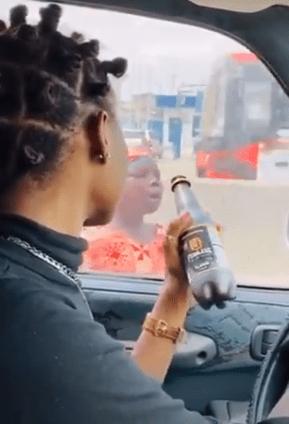 Twitter influencer Motara mocks child beggar with a bottle of drink (Video)
