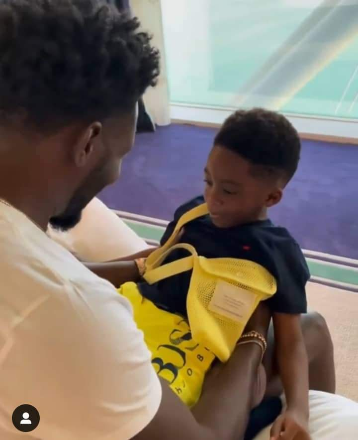 Moment Tiwa Savage's ex-husband, Teebillz surprised their son with the best Christmas gift (Video)