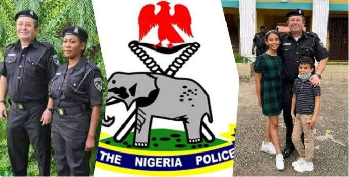 Nigerians react as white man allegedly joins Nigeria Police Force
