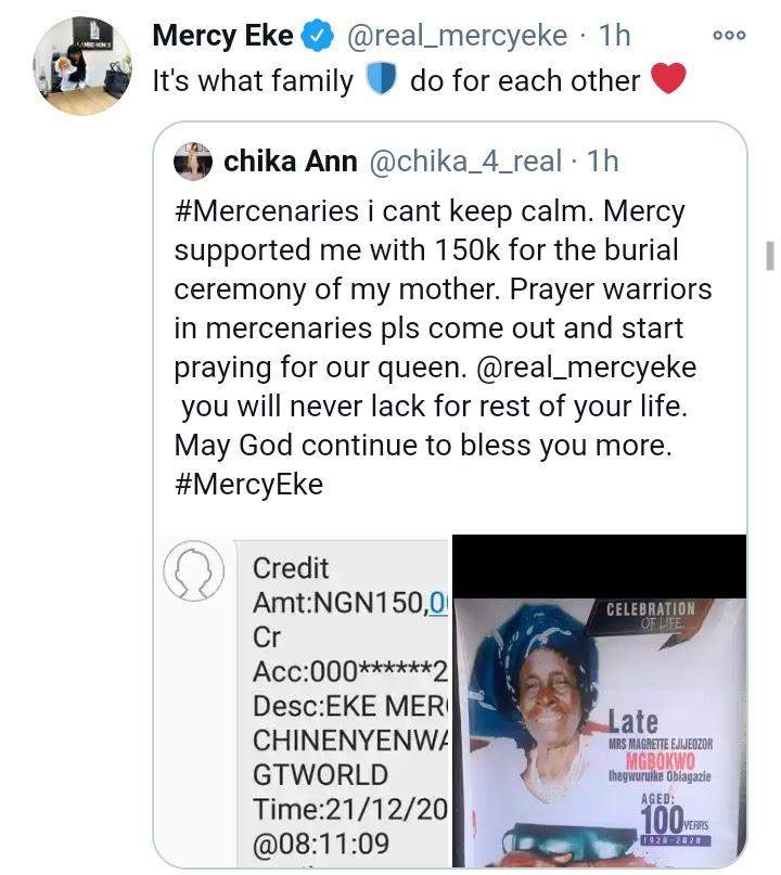 Mercy Eke gifts fan N150k to support her mother's burial
