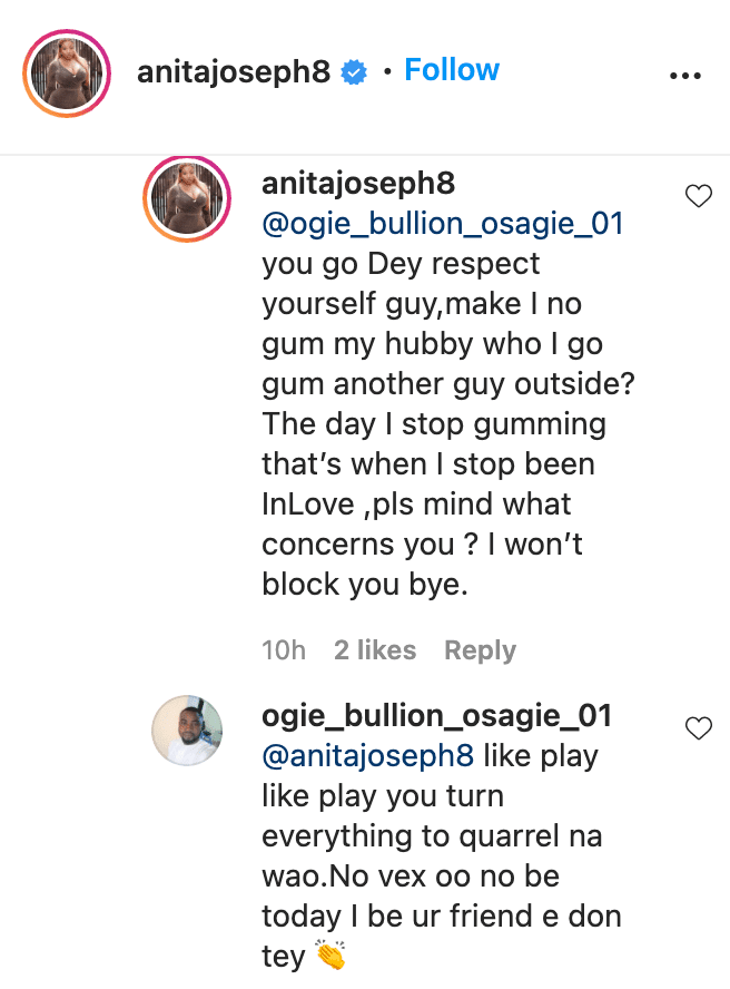 Anita Joseph educates troll who encouraged giving her husband 'breathing space'