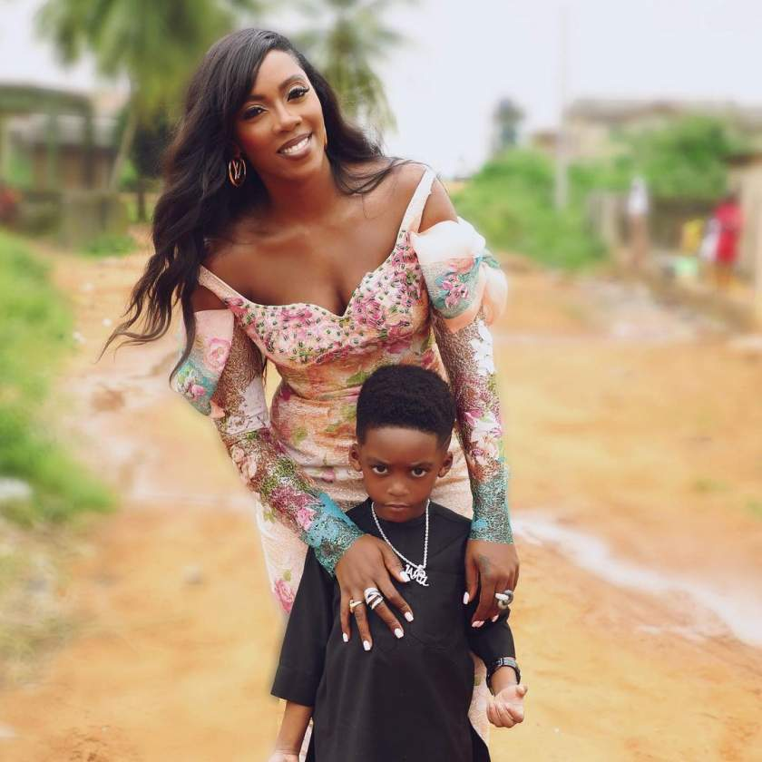 Tiwa Savage spends ₦743k on Christian Dior backpack for son Jamil (videos)
