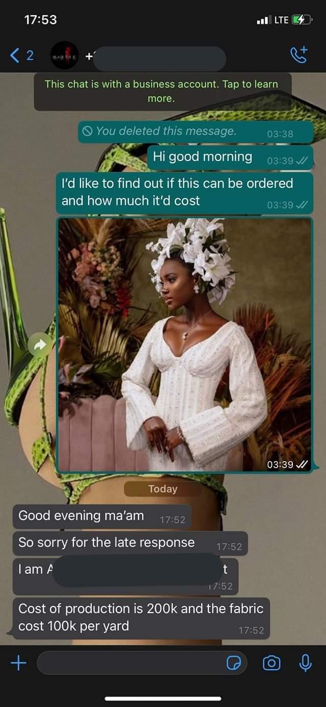 Lady order N400k dress