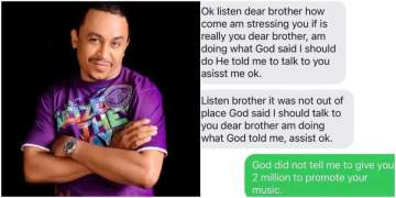 """God said I should tell you to give me N2m"" - Daddy Freeze shares chat with a lady"