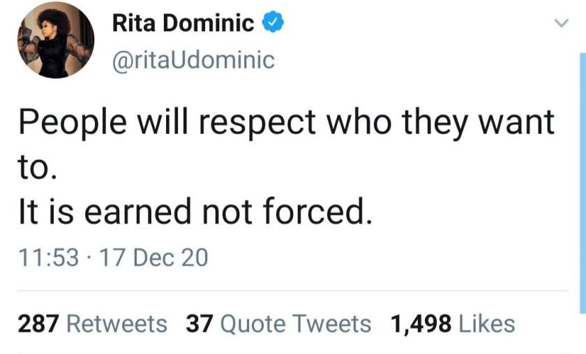 Rita Dominic replies a follower who misunderstood her post