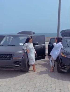 Mercy Aigbe and friend flaunt their Range Rover, calls it RR Geng (Video)