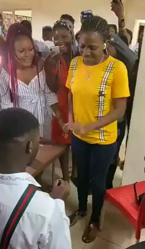 Drama as lady allegedly runs mad while trying to accept proposal ring from boyfriend (Video)