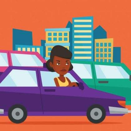 Depositphotos_142114054 Stock Illustration Angry African Woman In Car