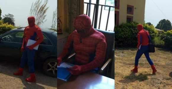 ASUU Strike Lecturer Disguises As Spider Man To Attend To Students
