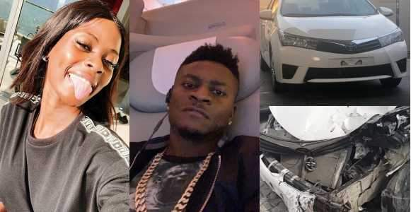 Khloe Involved In An Accident In The Brand New Car Obafemi Martins Recently Gave Her Photos