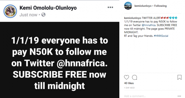 Everyone Will Pay N50000 To Follow Me On Twitter In 2019 Kemi