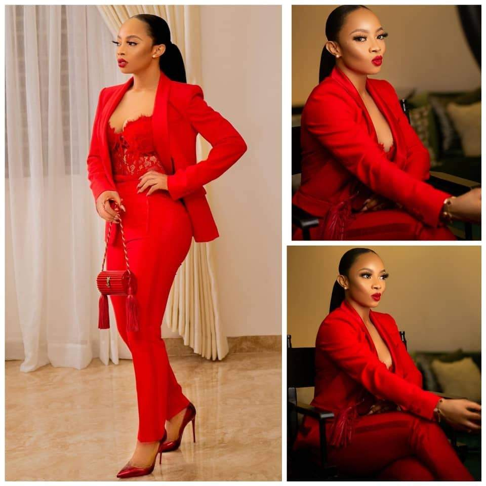 Photos: Toke Makinwa slays in red suit