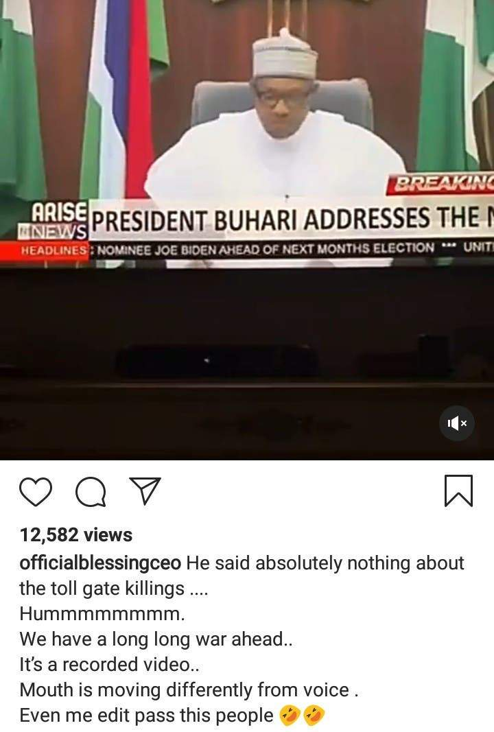 Jubril Is At Home Watching His Pre Recorded Video Nigerians React To Buharis Speech On Endsars Protests 2