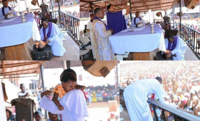 Fr. Mbaka allegedly resurrects dead baby during church crusade in Enugu (Photos)