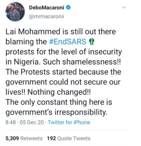 '#EndSARS Protests Did Not Cause Insecurity In Nigeria' - Mr Macaroni