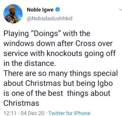 'Being Igbo Is One Of The Best Things About Christmas' - Noble Igwe