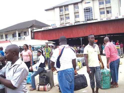 Passengers Stranded At A Motor Park