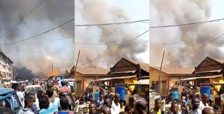 Pandemonium As Fire Guts Buildings At Okobaba Plank Market Ebute Metta Video