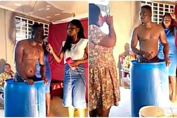 Pastor bathes in church, asks church members to drink his bath water and they did (video)