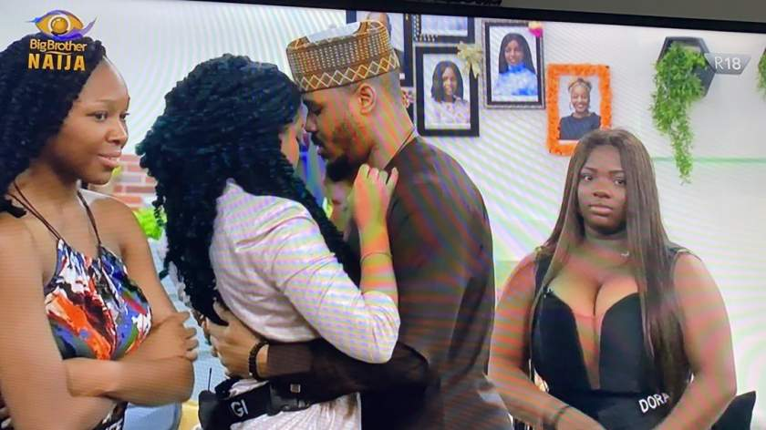 Moment Nengi curved Ozo's kiss after he was evicted from the Big Brother Naija house (WATCH)