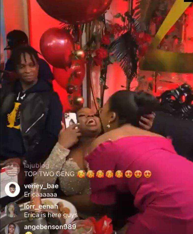 Moment Erica showed up at Dorathy's 25th birthday party and Laycon couldn't take his eyes off her (VIDEO)