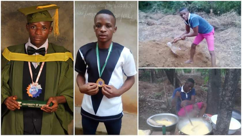 Heartbreaking story of a UNN First Class graduate who turned cassava farmer in his village for survival